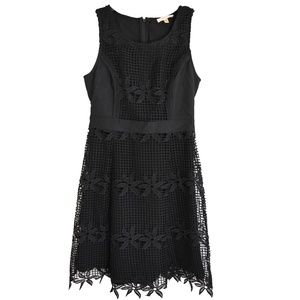Skies Are Blue Black Dress Floral Embroidery Dress